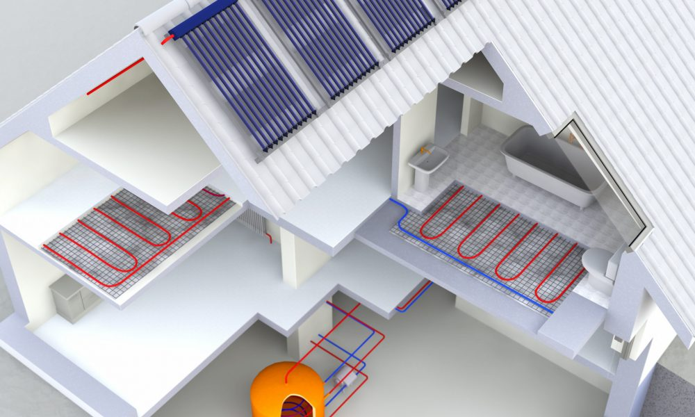 Alternative Heated House With Solar Panels, Geothermal Heating System, Solar Panels Heating, Warm floor, Under Floor Heating Systems, Renewable Energy Home Concept - 3D Rendering